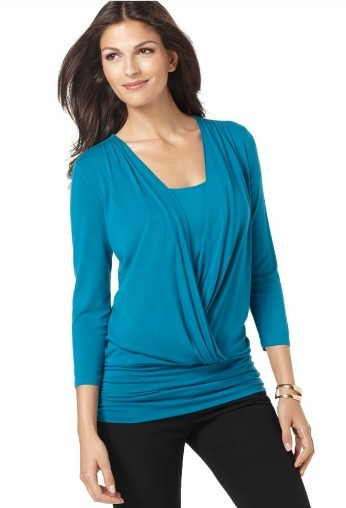 Layered look draped three-quarter sleeve top