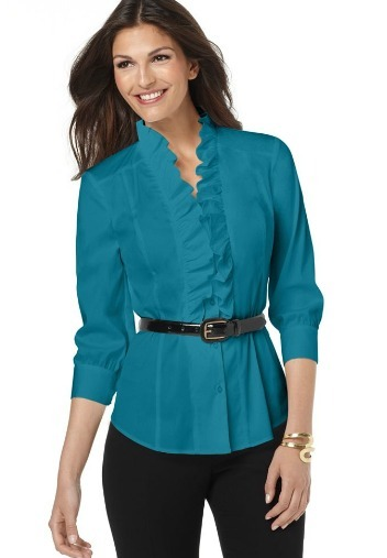Ruffled three-quarter sleeve belted shirt