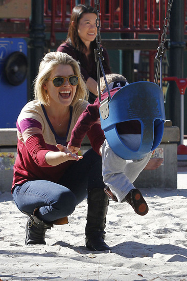 Ali Larter takes baby to the playground