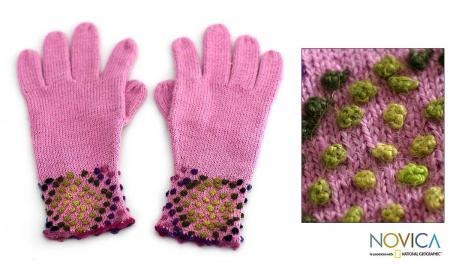 Alpaca Wool-blend Strawberry Sprinkles Gloves
