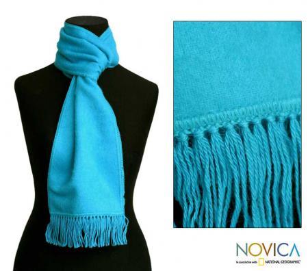 Alpaca Wool Sky Blue Scarf