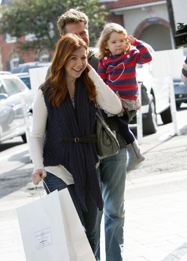 Alyson Hannigan goes shopping with her family