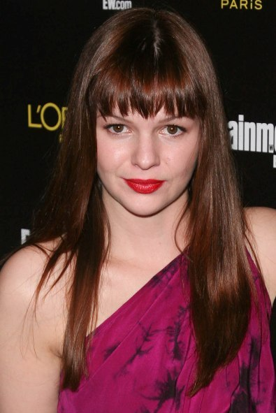 Amber Tamblyn's long hairstyle with bangs