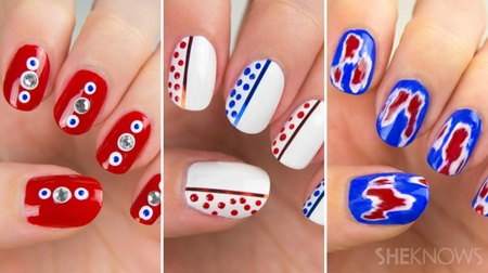 Amazing red, white and blue nails