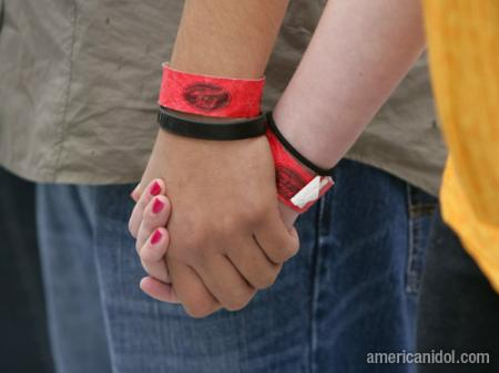 American Idol Season 9 Boston Auditions Red Wrist Bands Holding Hands