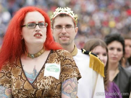 American Idol Season 9 Boston Auditions Woman with Orange Hair and Tattoos
