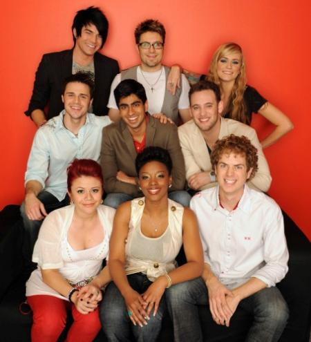 The top 9 contestants on American Idol
