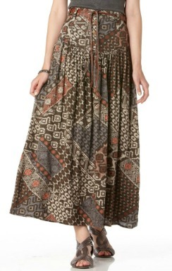 Long Printed A-Line Skirt