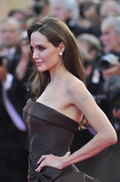 Angelina Jolie in a corset top