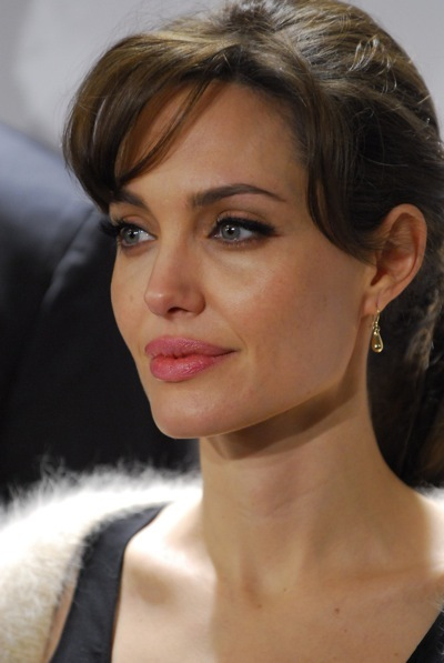 Angelina Jolie with curled bangs