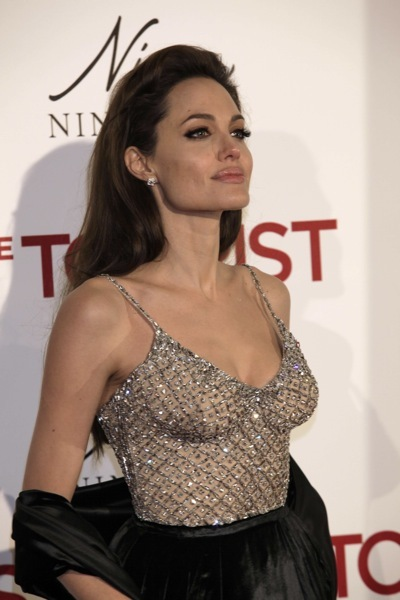 Angelina Jolie in a sparkly top