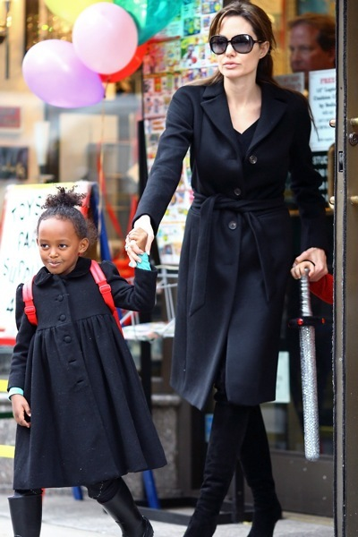 Angelina Jolie's family in black coats