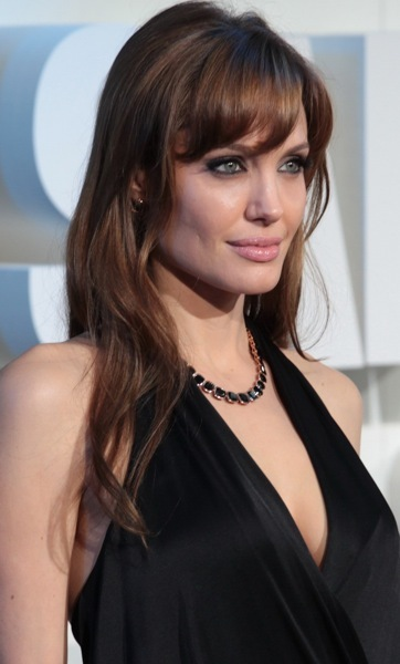 Angelina Jolie with swooping bangs