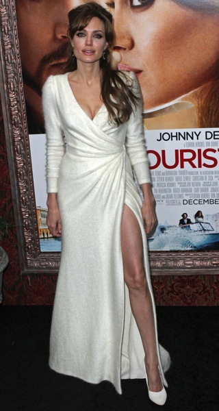 Angelina Jolie in a white dress