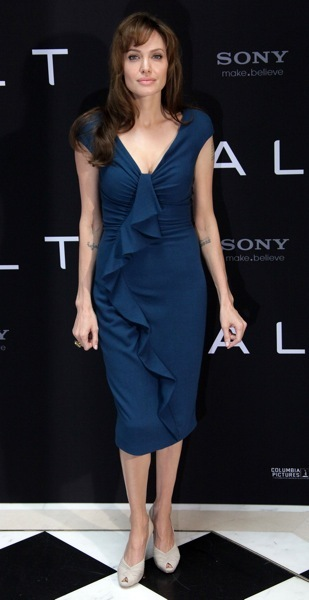 Angelina Jolie in a blue dress