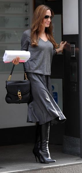 Angelina Jolie in knee high boots