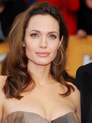 Angelina Jolie in strapless dress