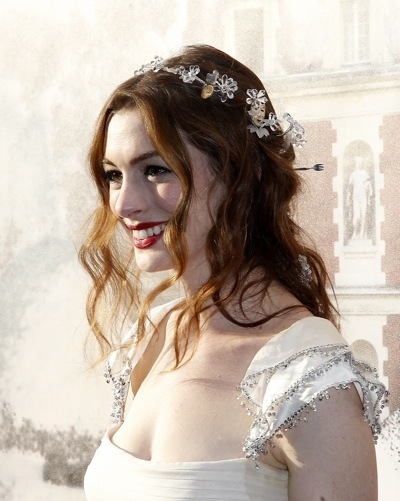 Anne Hathaway with flowers in her hair