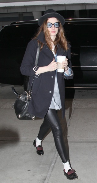 Anne Hathaway in leather tights