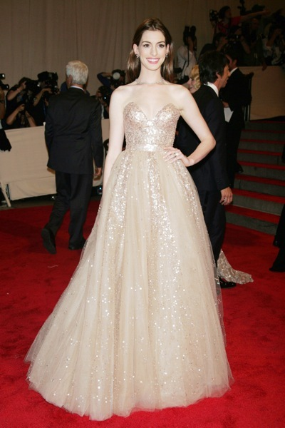 Anne Hathaway in an evening gown
