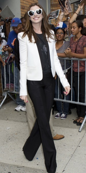 Anne Hathaway in a blazer