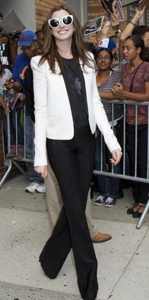 Anne Hathaway in a blazer