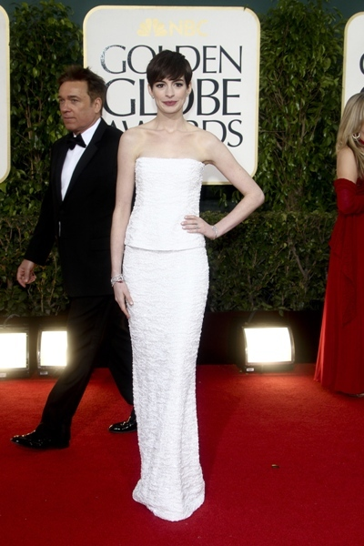 Anne Hathaway in white