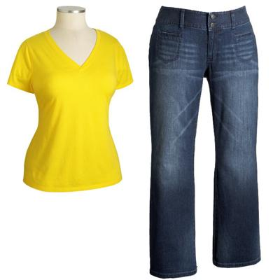 Boot-Cut Jeans and V-Neck Tee