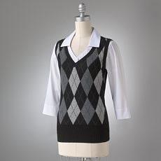 AB Studio argyle mock-layer sweater vest