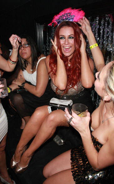 Aubrey O'Day rings in the New Year with fire red hair