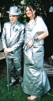 A classic duct tape approach to a prom outfit