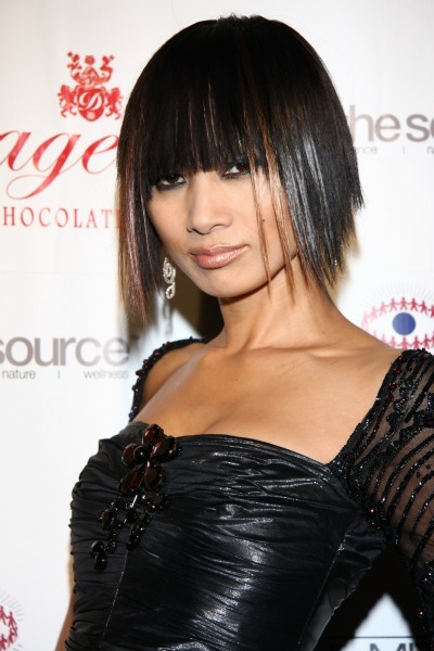 Bai Ling's silver and red bob