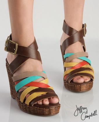 Band Brown Combo Fiesta Woven Wedge
