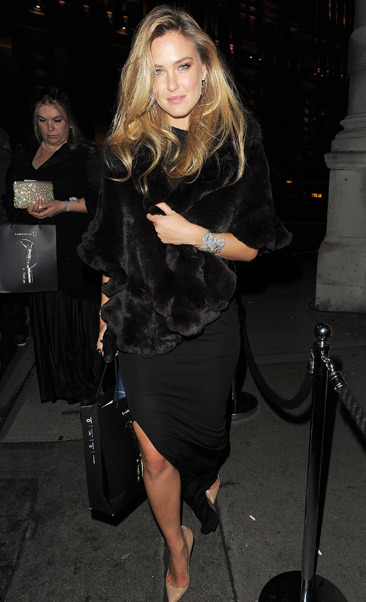 Bar Refaeli leaves a private party in London