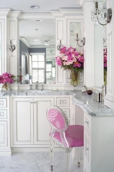 Pink and ivory bathroom decor