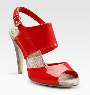 BCBGMAXAZRIA Red Patent Sandals