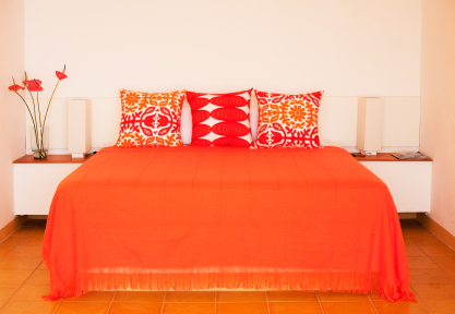 Bright orange bedroom decor - Red, yellow & orange themes