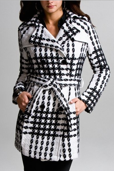 Express Belted Plaid Wool Coat