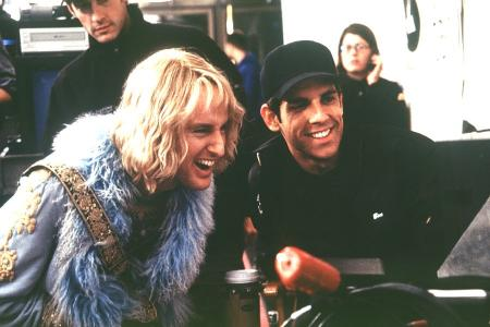 Ben Stiller with Owen Wilson in costume on the Starsky and Hutch set