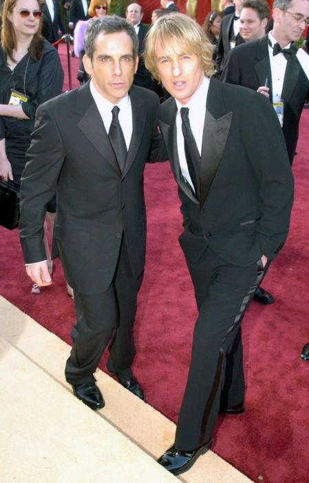 Ben Stiller and Owen Wilson with a foot on the steps at the Academy Awards