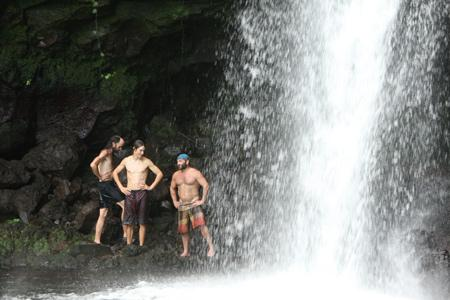 Best Survivor: Samoa (19) Moments Brett, Russell H. and Dave at a Waterfall