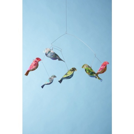 Recycled paper bird mobile