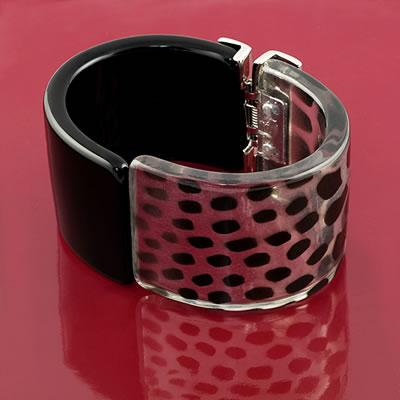 Black and White Animal Print Cuff Bracelet