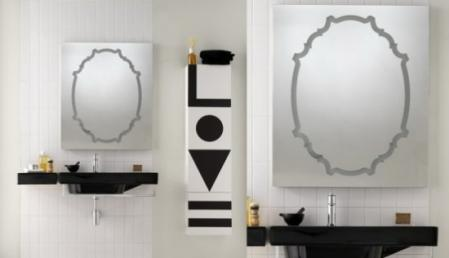 Black and white bathroom with geometrics
