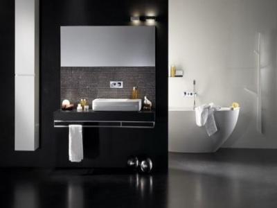 Black and white bathroom with tub - Black and white bathroom ideas