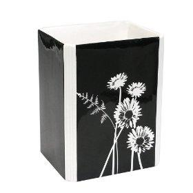 Black and white floral wastebasket