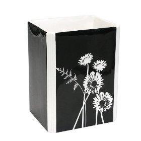 Black and white floral wastebasket