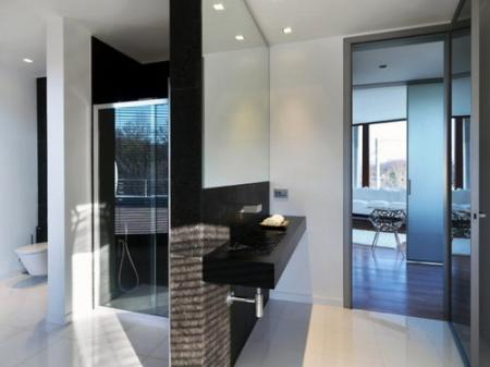 Italian inspired black and white bathroom
