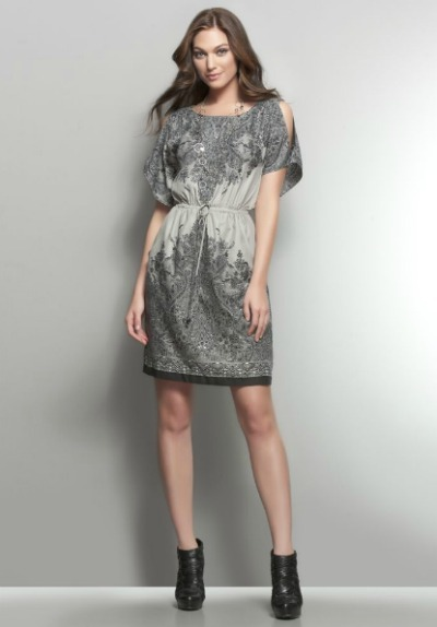 Dolman Sleeve Paisley Print Dress