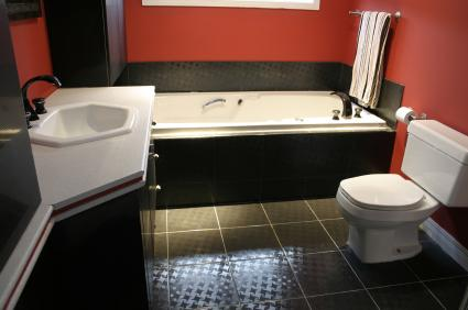 Bathroom decorating ideas black white and red 2017 for Bathroom ideas red and black